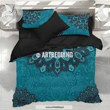 bohemian teal bedding dark teal and turquoise mandala duvet cover