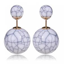 sided earrings white marble sided earrings