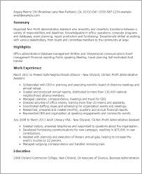 Board Of Directors Resume Sample by Professional Non Profit Administrative Assistant Templates To