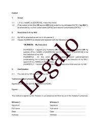 template sample codicil to will
