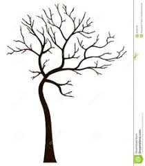 black silhouette of stylized thin tree without leaves on a white