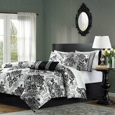 Black Comforter King Queen Size 7 Piece Damask Comforter Set In Black White Grey
