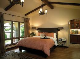house design tufted bed with ceiling beams and black chandelier