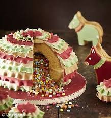 pinata cake with sponge outside and sweets inside is new baking