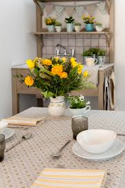 matching patterns organic table linen from ochre and ocre mixing and matching