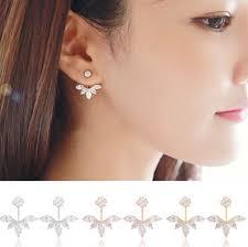 clip on stud earrings new zircon 3 colors gold ear cuff clip leaf stud