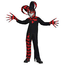 krazed jester evil clown fancy dress halloween costume mens adults