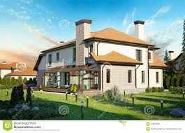 luxury family house with landscaping stock illustration image