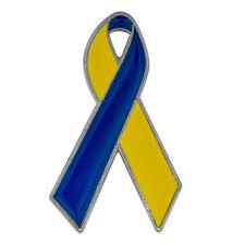 blue and yellow ribbon awareness ribbon pin pinmart pinmart
