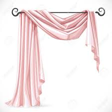 Pink And White Curtains Pink Asymmetric Curtains On The Ledge Forged Isolated On A White