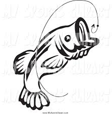 sports clip art of a black and white jumping fish and hook by