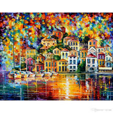 2017 contemporary landscape painting dream harbor leonid afremov