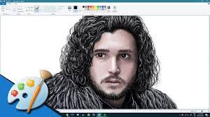 microsoft paint speed art jon snow from game of thrones youtube