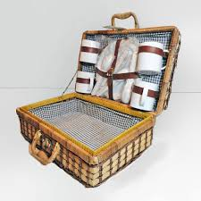 vintage picnic basket vintage wicker suitcase style picnic basket with dinnerware