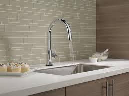 touch technology kitchen faucet delta trinsic pull touch single handle kitchen faucet with