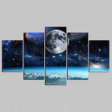 landscape modern five panels canvas any shape print wall decor for