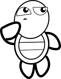feraliminal turtle thinking black white line art coloring book
