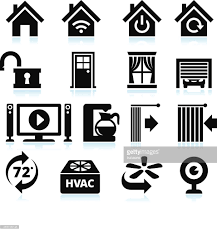 home automation appliance and security interface icons on white