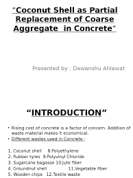 coconut shell as partial replacement of coarse aggregate in