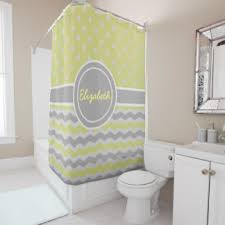Gray Chevron Shower Curtain Yellow And Gray Shower Curtains Zazzle