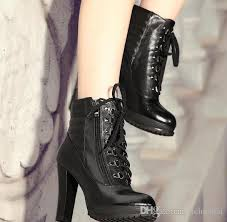 women s street motorcycle boots street fashion lace up ankle boots black leather knight boots