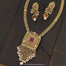 gold plated fashion necklace images Gold plated antique long necklace south india jewels jpg