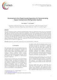 development of an experimental apparatus for demonstrating vapour