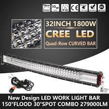 curved marine led light bar quad row 32inch 1800w curved cree led light bar spot flood driving