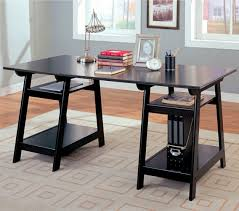 Wooden Desk With Shelves Black Finish Wood Trestle