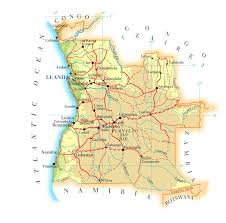 angola physical map detailed road and physical map of angola angola detailed road and