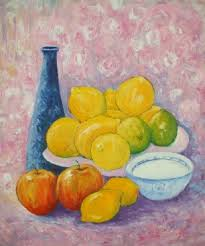 The Blue Vase Still Life With Plate Of Pears And Oranges Painting By A Roy