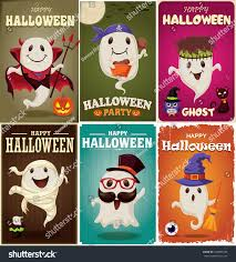 vintage halloween poster design set ghost stock vector 320897435