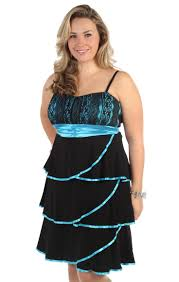 plus size party dress with tiers and contrast satin trim piping