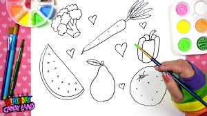 drawing for kids fruits and vegetables drawing pages youtube