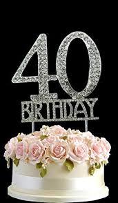 40 cake topper monogran happy 40th birthday cake topper rhinestone