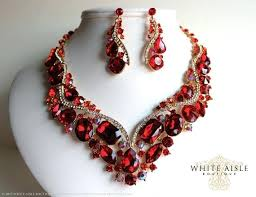 ebay necklace heart images Red necklace set red stone jewelry sets red necklace set ebay jpg