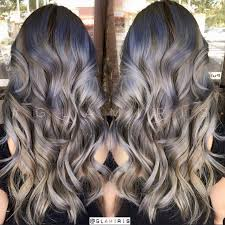 silver hair with lowlights ash grey balayage on black hair of silver ash gray hair color