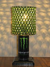 omg monster energy can lamp with lime green anodized by