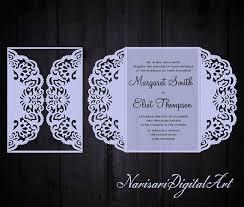gate fold wedding invitation laser cut pattern card template