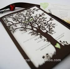 white tree laser die cutting wedding invitations with name tag