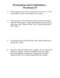 permutations and combinations word problems worksheet with