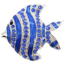 sapphire blue fish crystal pin brooch fantasyard costume jewelry