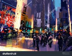 Colorful Painting by Colorful Painting City Streetillustration Stock Illustration