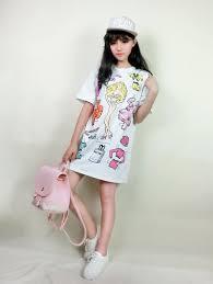 barbie cartoon printing short sleeve cheap white t shirt dress