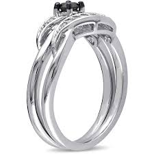 1 4 carat t w black and white diamond sterling silver bridal ring