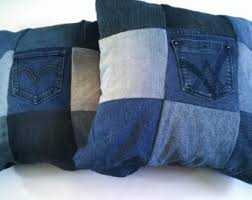 Upcycled Pillows - jeans pockets pillow cover repurposed blue jean pocket