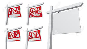 set of various right facing vector real estate signs blank