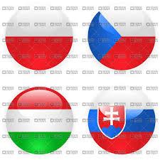Slovak Flag Czech Slovakia Poland And Hungary Button Flags Vector Image
