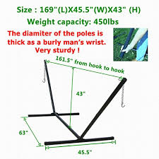 450lbs weight capacity two point portable hammock stand only black