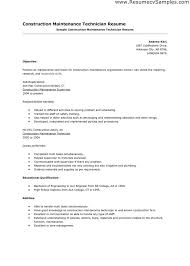 resume building maintenance technician resume sample unit manager